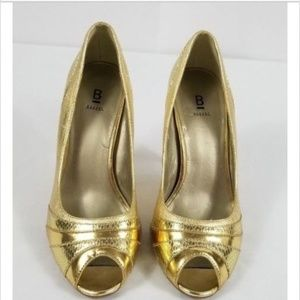 Bakers Gold Shoes SZ 6 1/2 Peep Toe pumps Leather
